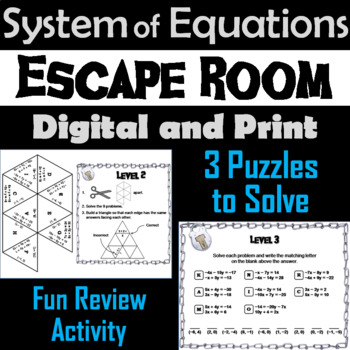 Systems of Equations by Elimination Game: Algebra Escape Room Math