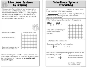 Systems of Equations by Graphing - Scavenger Hunt Worksheet