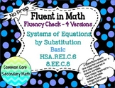 Systems of Equations by Substitution Basic : No Prep Fluent in Math Series