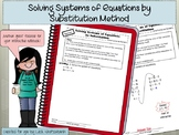 Systems of Equations by Substitution Method Foldable for Interactive Notebooks