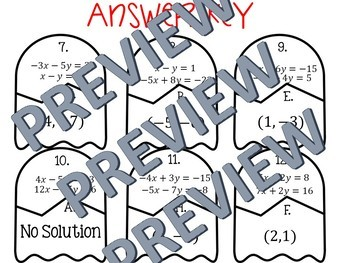 Systems of Equations by Substitution Puzzle Activity {Fall Themed}