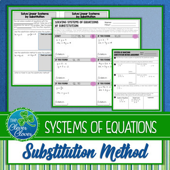 Systems of Equations by Substitution - Scavenger Hunt Worksheet & Note Page