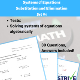 Systems of Equations by Substitution and Elimination - Set #1