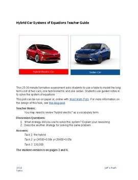 Hybrid Car Systems of Equations from a Context Rich Task