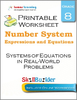 Systems of Equations in Real-World Problems Printable Worksheet, Grade 8