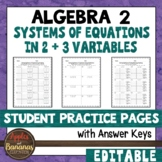 Systems of Equations in Two and Three Variables - Student Practice Pages