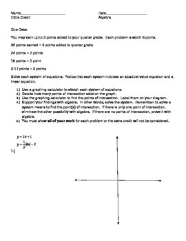 Systems of Equations (linear & abs. value)