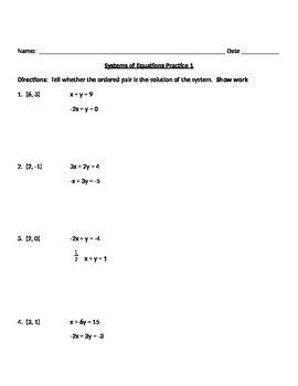 Systems of Equations notes and assignments