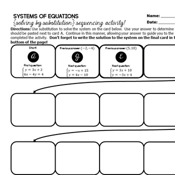 Systems of Equations (solving by substitution) - Sequencing Activity!