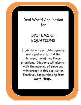 Systems of Equations through Real World Situation