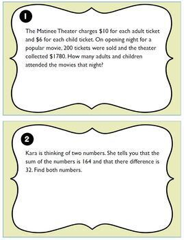 Systems of Equations w/ Word Problems Task Cards