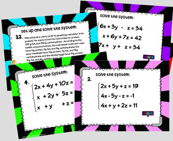 Systems of Equations with 3 Variables Digital Task Cards with GOOGLE Slides