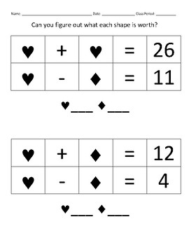 Systems of Equations with Shapes - 2 Variables