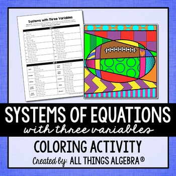 Systems of Equations with Three Variables Coloring Activity