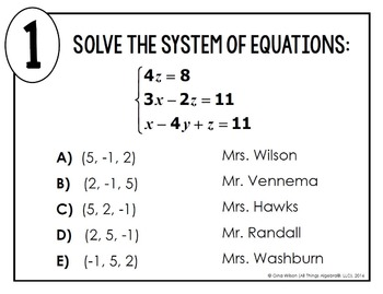 Systems of Equations with Three Variables Math Lib