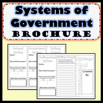 Systems of Government Brochure SS.7.C.3.2 Civics- Editable