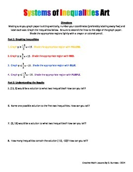 Systems of Inequalities Art - Algebra Activity -