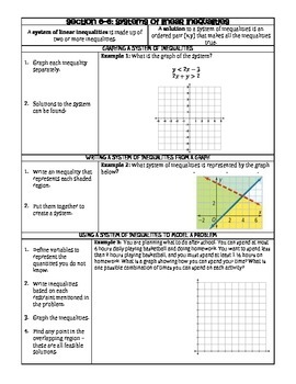 Systems of Inequalities Guided Notes