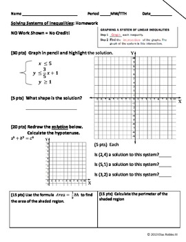 Systems of Inequalities Homework