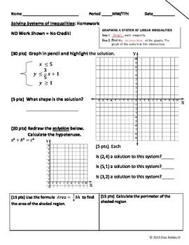 Systems of Inequalities Homework