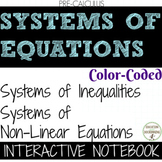 Systems of Inequalities and Non-Linear Equations COLOR interactive notebook