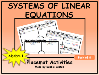 Systems of Linear Equations Placemat Activities (Pack of 8)