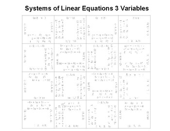Systems of Linear Equations 3 Variable Fun Square Puzzle