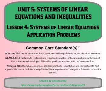 Systems of Linear Equations Application Problems (Math 1)