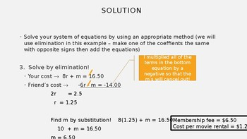 Systems of Linear Equations - Applications - PowerPoint