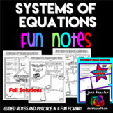 Solve Systems of Equations Comic Book Style FUN Notes