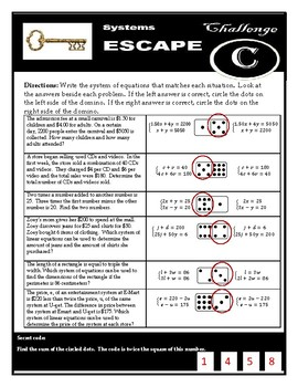 Systems of Linear Equations ESCAPE ROOM by Mandy Newton | TpT