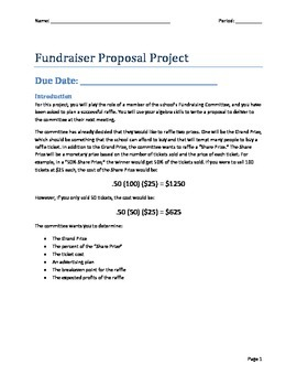 Systems of Linear Equations Fundraising Project