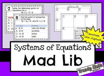 Systems of Linear Equations Mad Lib