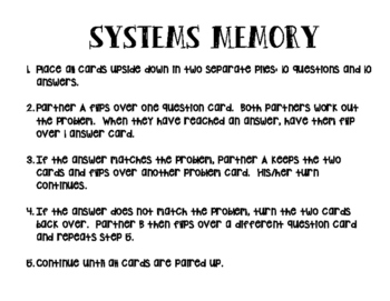 Systems of Linear Equations Memory
