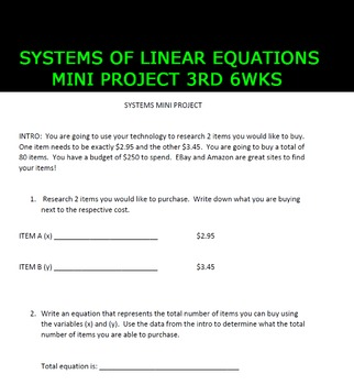 Systems of Linear Equations Mini Project 3rd 6WKS
