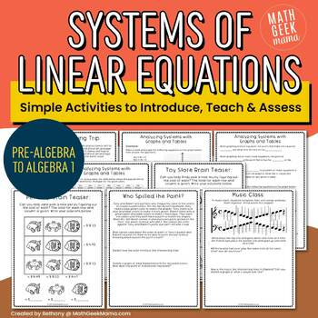 Systems of Linear Equations Mini Unit