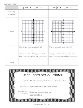 Systems of Linear Equations-Notes (Graphing, Substitution, Elimination)