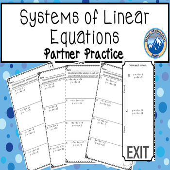 Systems of Linear Equations Partner Practice