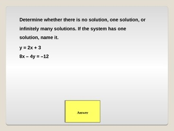 Systems of Linear Equations Collaborative PowerPoint Game Review