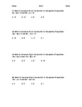 Systems of Linear Equations Practice