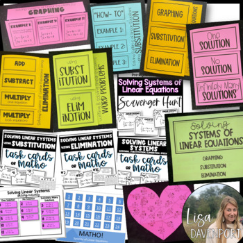 Systems of Linear Equations (Pre-Algebra Foldable & Activity Bundle)