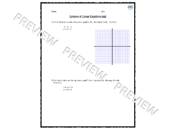 Systems of Linear Equations Quiz