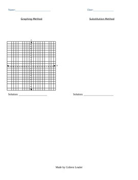 Systems of Linear Equations Quiz (graphing and substitution method)