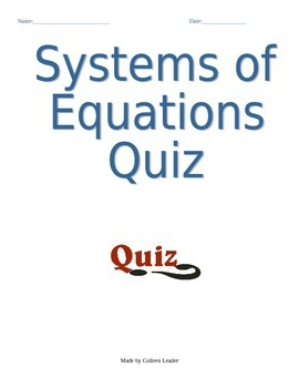 Systems of Linear Equations Quiz (graphing and substitutio