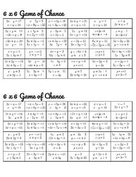 Systems of Linear Equations Review Game