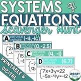 Systems of Linear Equations Scavenger Hunt (Digital + Printable)