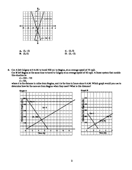 Math 10: Systems of Linear Equations Test - with FULL SOLUTIONS
