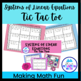 Systems of Linear Equations  Tic Tac Toe Activity --Worksheets