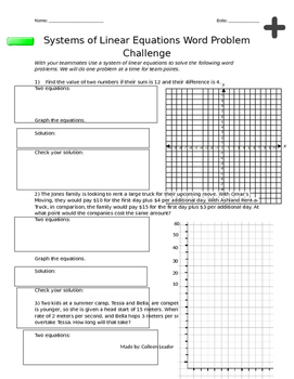 Systems of Linear Equations Word Problem Challenge