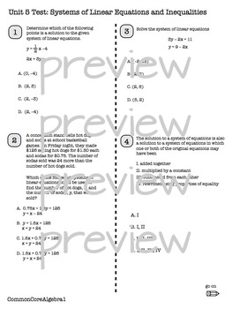 SYSTEMS OF LINEAR EQUATIONS & INEQUALITIES Unit Test CC Algebra1